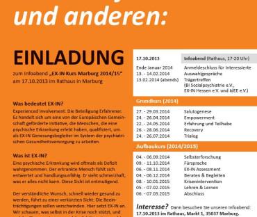 Psychisch krank? Dann helfen Sie sich und anderen – EX-IN Kurs Marburg 2014/15