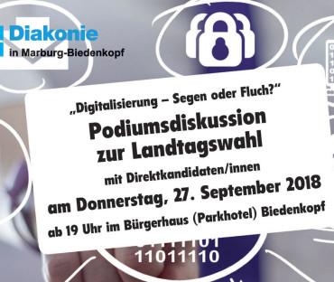 """Podiumsdiskussion zur Landtagswahl""""Digitalisierung – Segen oder Fluch?"""""""