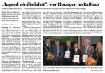 """""""Tugend wird belohnt"""": vier Ehrungen im Rathaus"""