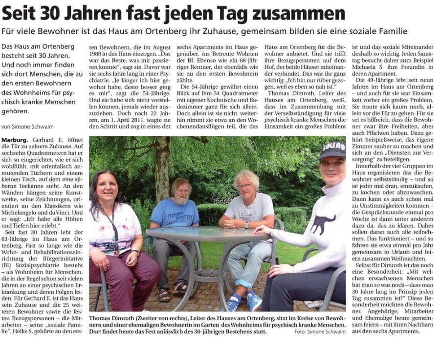 Artikel aus der Oberhessischen Presse vom 14.06.2018