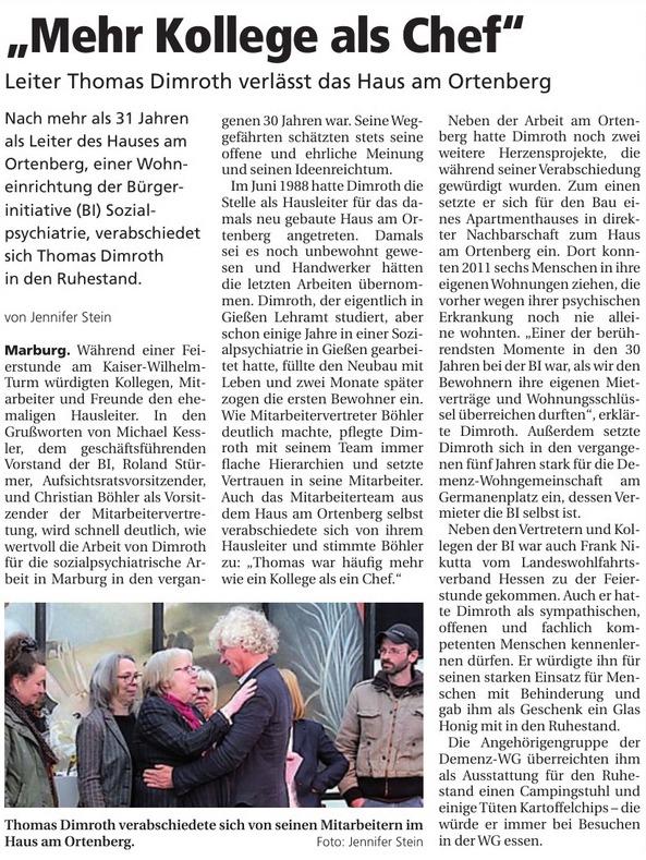 """Oberhessische Presse, 21.05.2019, """"Mehr Kollege als Chef"""""""