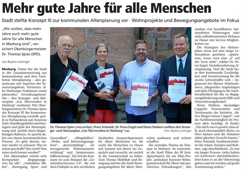 Mehr gute Jahre für alle Menschen - Artikel der Oberhessischen Presse vom 13.09.2019
