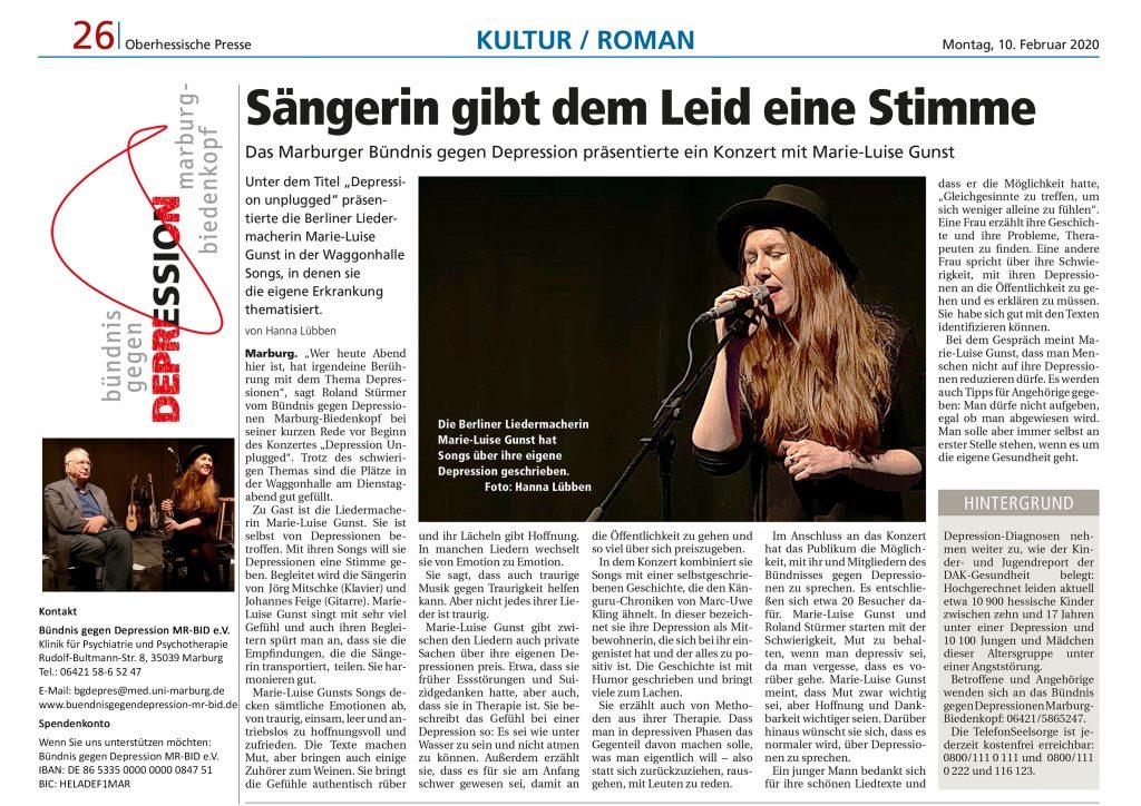 Artikel aus der Oberhessischen Presse vom 10.02.2020