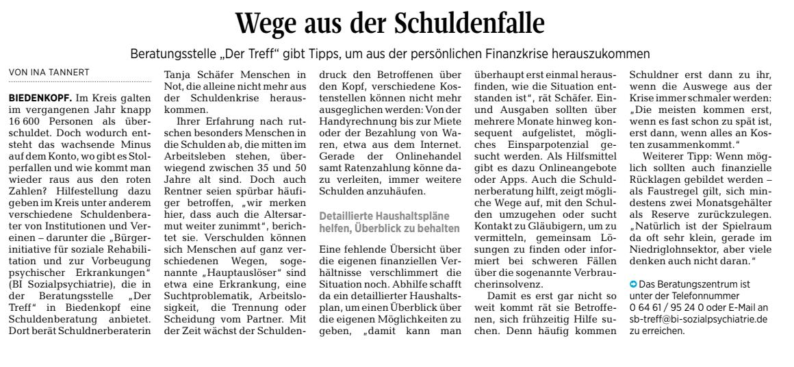 Wege aus der Schuldenfalle - Oberhessische Presse vom 03.04.2020