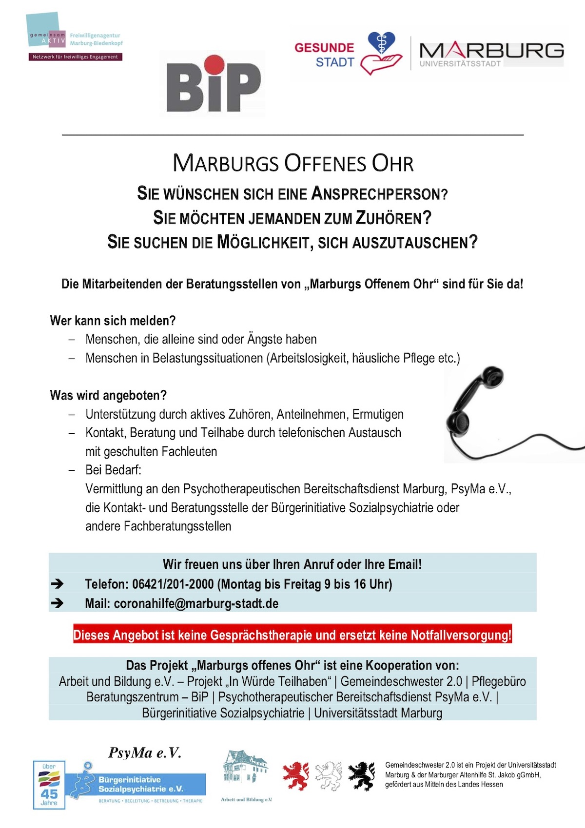 Flyer Marburgs Offenes Ohr