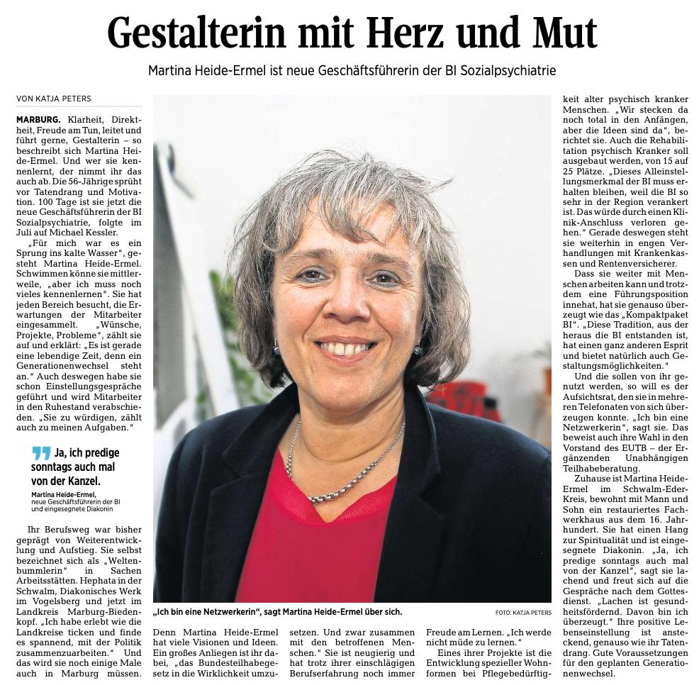 Bildausschnitt aus der OP über Martina Heide-Ermel: Gestalterin mit Herz und Mut