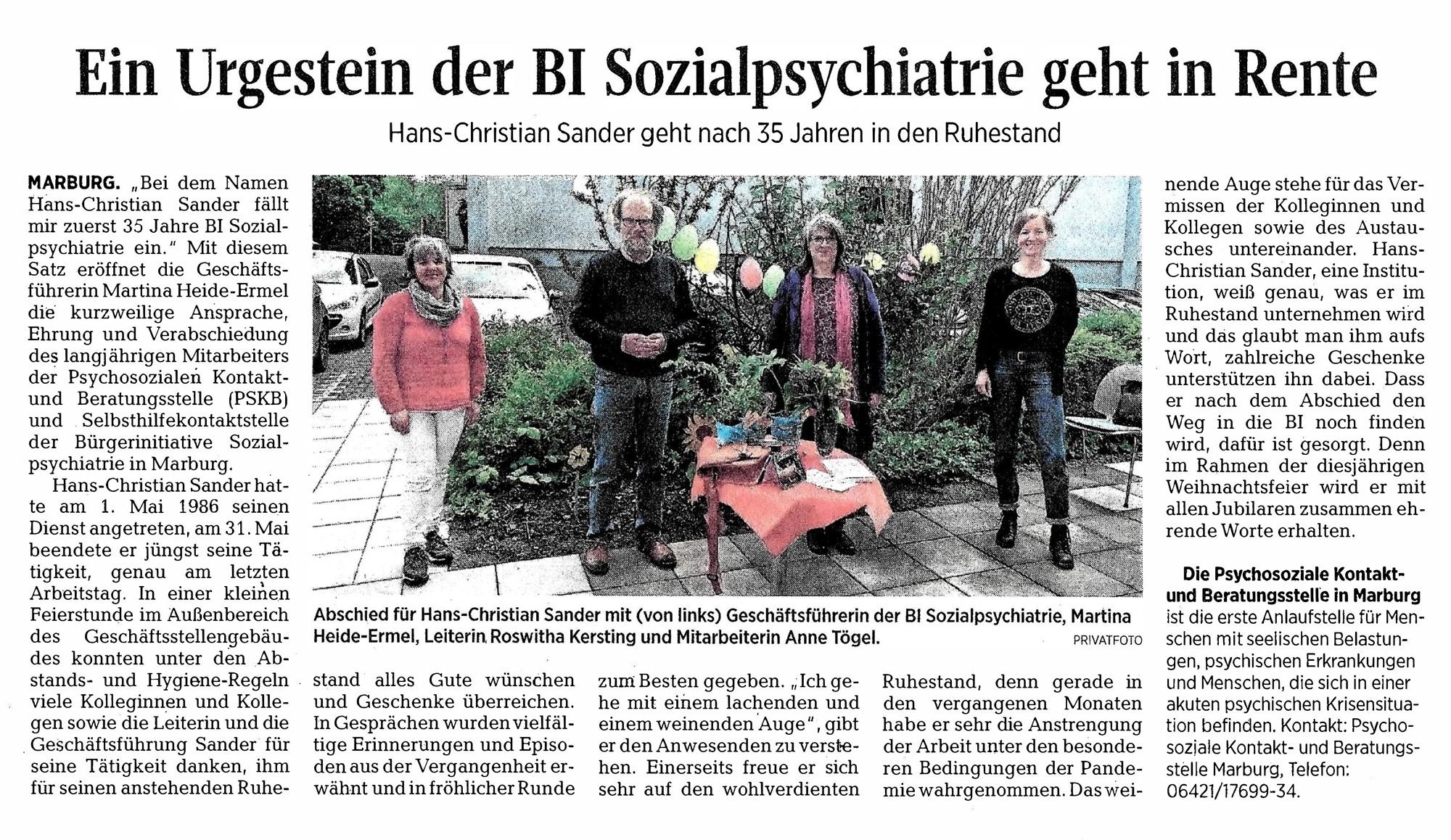 Zeitungsartikel: Verabschiedung Herr Sander